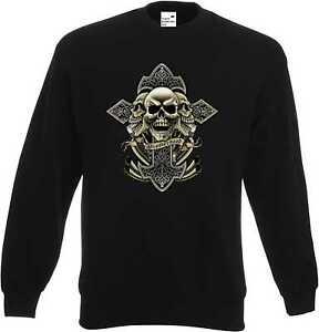 Sweatshirt Schwarz Totenkopf Gothik-&Tattoomotiv Modell Celtic Cross Brotherhood