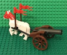 Lego MOC Wheeled Shooting Cannon With White Horse / Castle / Pirates / Kingdoms