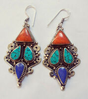Tribal Sterling silver earrings Turquoise coral lapis stone Handmade from ERD1
