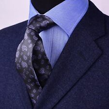 Gold Series Designed in Italy Paisley Woven Tie, Grey With Blue Boss Fashion