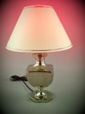 Tisch Lampe vernickelt + Schirm Jugendstil-Lampen Vintage Tisch Deko Geschenk