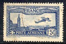STAMP / TIMBRE DE FRANCE POSTE AERIENNE OBLITERE N° 6 AVION SURVOLANT MARSEILLE