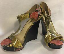 "Shoes MICHAEL ANTONIO 5"" Heels Platform Wedge OLIVE GREEN GOLD RED Snakeskin 6"