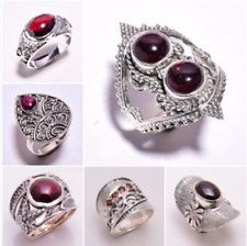 925 Sterling Silver Ring SIZE US 7, Natural Garnet Handcrafted Jewelry Gift CR72
