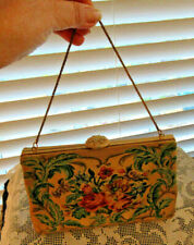 Vintage WALBORG For Bergdorf Goodman Tapestry Purse,Coin Purse Mirror,Bead Clasp