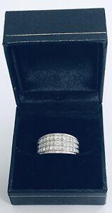 Estate Jewelry 10kt WG 1.00ct Tw Natural Diamond Three Row Band Ring Sz7