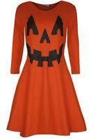Ladies Womens Printed Pumpkin Costume Halloween Smock Mini Flared Swing Dress