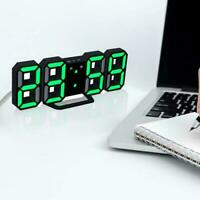 Horloge murale LED numérique moderne 3D blanc horloge réveil affichage 12/24 h