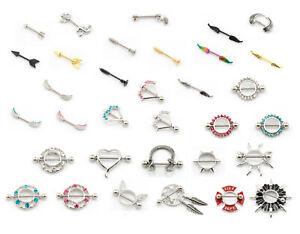 Nipple Bar Nipple Shield Barbell Piercing 316L Surgical Steel Various Styles