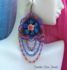 HUGE HANDMADE HANDPAINTED ORIGINAL STATEMENT VIBRANT GYPSY ROSE RUNWAY EARRINGS