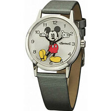 Disney by Ingersoll Ladies Classic Mickey Mouse Grey PU Leather Strap Watch DIN0