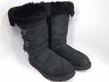 UGG Bailey 3 Button Black Sheepskin Boots Size: 7 M (B) EU 38  Model # 1873
