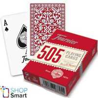 FOURNIER 505 PLASTIC COATED POKER PLAYING CARDS DECK RED STANDARD INDEX NEW