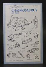 1989 Dino Riders CHASMOSAURUS W/ LLAVA Original Spanish vintage instructions