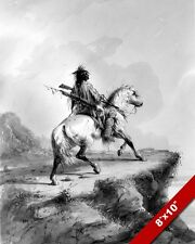NATIVE AMERICAN CROW INDIAN ON HORSE LOOKOUT PAINTING ART REAL CANVAS PRINT