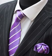 Tie Neck tie with Handkerchief Two Shade Purple with White Stripe