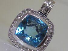$1050 DAVID YURMAN STERLING SILVER ALBION BLUE TOPAZ DIAMOND ENHANCER