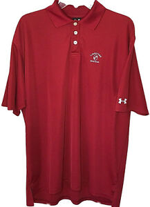 Under Armour large mens polo golf shirt red hemmed sleeves Limestone Springs