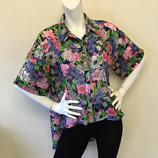 Boohoo Ladies Bright Over Sized Pink Purple Green Floral Blouse Top UK Size 10