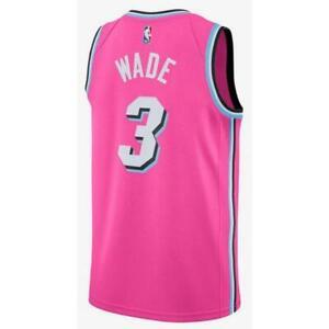 CANOTTA/JERSEY DA COLLEZIONE-BASKET NBA-MIAMI HEAT-WADE #3-EARNED EDITION-PINK