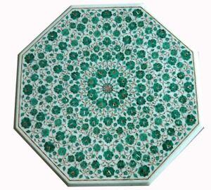 "36"" Marble Top Table Malachite Stone Pietra Dura Work Handmade Home Furniture"