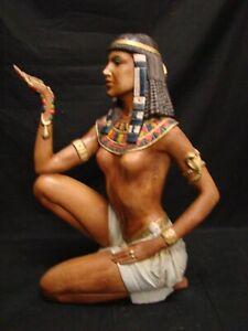 STATUA '70 DONNA EGIZIANA CERAMICA MADE IN ITALY EGITTO Nudo 46x41x19