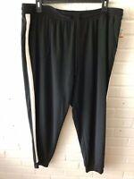 New Style & Co Woman's Drawstring Waist Knit Pants w White Stripe  Black  3X G51