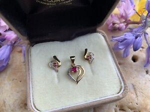 9k 375 9ct Ruby & Diamond Yellow Gold Studs & Heart Pendant Set