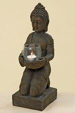 Buddha con Lanterna a vento 44cm Altezza Monaco Marrone Figura budda