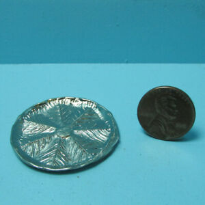 Dollhouse Miniature Metal Silver Large Round Leaf Serving Tray Platter SS3041