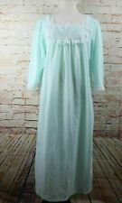 Vintage Vandemere Womens Full Length Nightgown Size L Green Lace Trim Sleepwear
