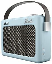Akai A60015BLN PLL AM/FM Retro Radio in Blue Alarm Clock LCD Screen - Brand New