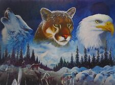 "3D Lenticular Picture Wolf, Eagle and Puma 15 1/2""x 11 1/2"