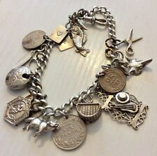 Nice Early Vintage Heavy Solid Silver Charm Bracelet with Lots of Unusual Charms