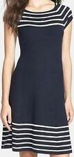 NEW Eliza J. Fit & Flare Cap Sleeve Sweater Dress Sz. 8 Navy / White Stripe NWT