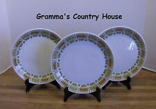 """3 Vintage Syracuse Carefree XL Casual China SEVILLE 8"""" Luncheon Plates 1967-1970"""