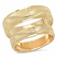 14K Yellow Gold Snowflake His And Hers Matching Unisex Wedding Band Ring Set Duo