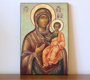 """LARGE RUSSIAN ORTHODOX ICON - THE MOTHER OF GOD """"HODEGETRIA"""". XVII th century"""