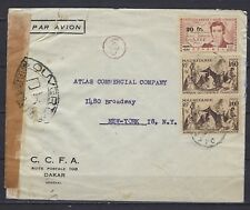 1944 Mauritania Scott 100(pr) & French West Africa Scott 12 on censored cover