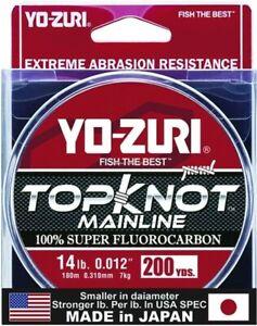 Yo-Zuri TKML14LBNCL200YD Topkot Fluorocarbon Line 14lb 200yd Clear Boxed