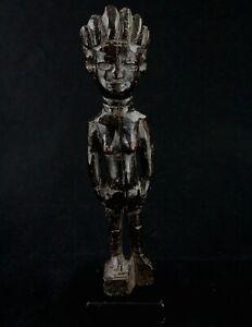 Art Africain Arts Premiers - Ancien Fétiche Abron sur socle en Bois - 26,5 Cms