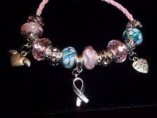 Breast Cancer AWARENESS European PINK & BLUE Glass Bead HOPE Bracelet N-07