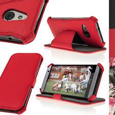 Rosso Eco Pelle Custodia Cover per HTC One MINI 2 2014 M8 Mini Flip Stand Case