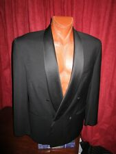 Gianfranco Ferre Italy Black Wool Tuxedo Dble Breastd Jacket Pleated Pants 42-L