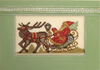 HINZEIT Cross Stitch Chart with 1 Crystal and 1 Charm VINTAGE SANTA SLED