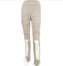 Sexy Women Suede High Waist Punk Skinny Pencil Bandage Lace Up Pants Trousers