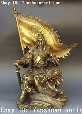 China Ancient Bronze Guan Gong Yu Yun Chang Guangong Warrior God Sword Statue