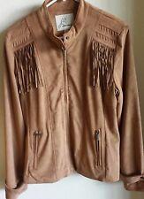 NWOT J2 by Jou Jou FRINGED Camel color -Faux Suede- LINED Jacket Coat - LARGE