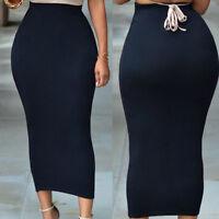Women  Sexy High-waisted Bodycon Maxi Skirt Pencil Lady Dress Midi Skirt