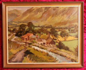 PICTURESQUE VIEW OF CEDRIS FARM TAL-Y-LLYN (WALES) - OIL PAINTING ON CANVAS.